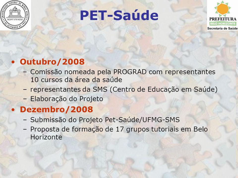 PET-Saúde Outubro/2008 –Comissão nomeada pela PROGRAD com representantes 10 cursos da área da saúde –representantes da SMS (Centro de Educação em Saúd