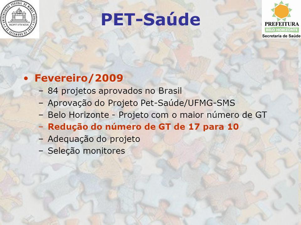 PET-Saúde Fevereiro/2009 –84 projetos aprovados no Brasil –Aprovação do Projeto Pet-Saúde/UFMG-SMS –Belo Horizonte - Projeto com o maior número de GT