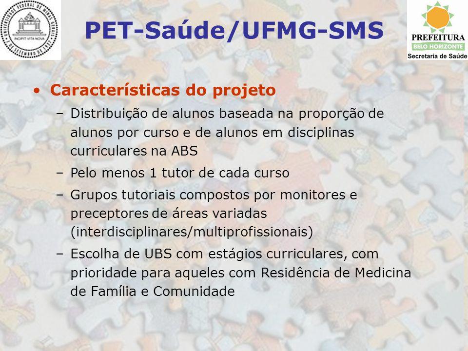 PET-Saúde/UFMG-SMS Características do projeto –Distribuição de alunos baseada na proporção de alunos por curso e de alunos em disciplinas curriculares
