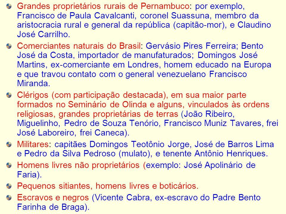 Grandes proprietários rurais de Pernambuco: por exemplo, Francisco de Paula Cavalcanti, coronel Suassuna, membro da aristocracia rural e general da re