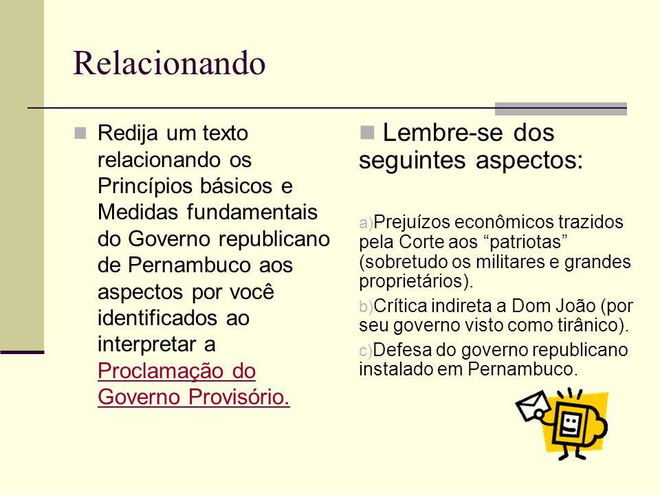 Relacionando Redija um texto relacionando os Princípios básicos e Medidas fundamentais do Governo republicano de Pernambuco aos aspectos por você iden