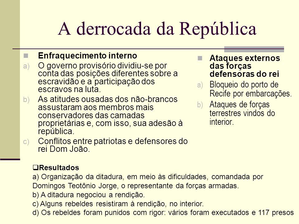 A derrocada da República Enfraquecimento interno a) O governo provisório dividiu-se por conta das posições diferentes sobre a escravidão e a participa