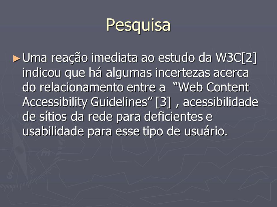Pesquisa Uma reação imediata ao estudo da W3C[2] indicou que há algumas incertezas acerca do relacionamento entre a Web Content Accessibility Guidelines [3], acessibilidade de sítios da rede para deficientes e usabilidade para esse tipo de usuário.