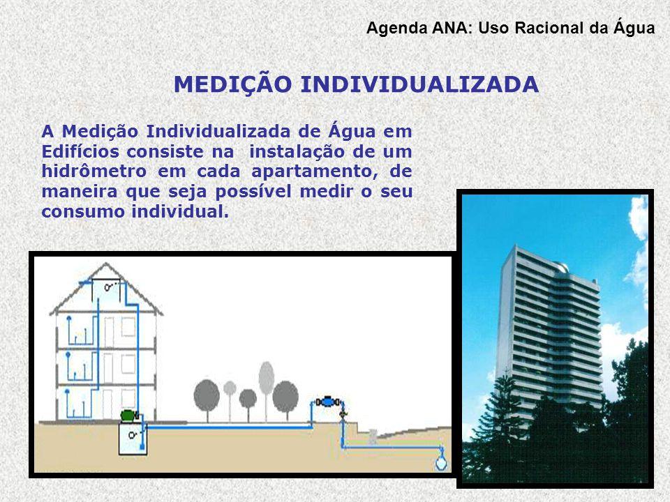 Agenda ANA: Uso Racional da Água A Medição Individualizada de Água em Edifícios consiste na instalação de um hidrômetro em cada apartamento, de maneir