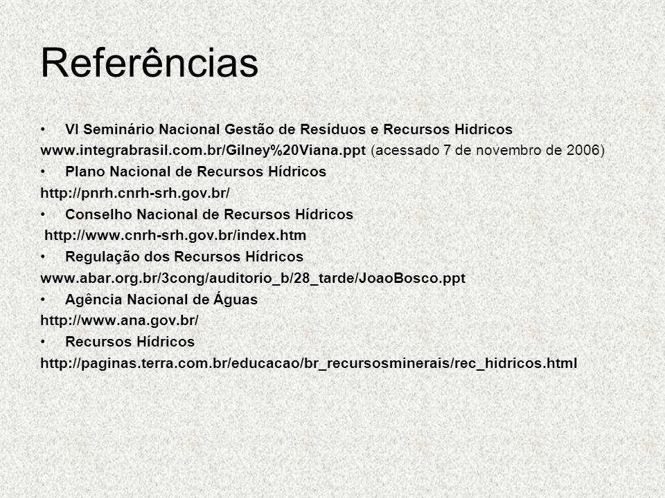 Referências VI Seminário Nacional Gestão de Resíduos e Recursos Hidricos www.integrabrasil.com.br/Gilney%20Viana.ppt (acessado 7 de novembro de 2006)
