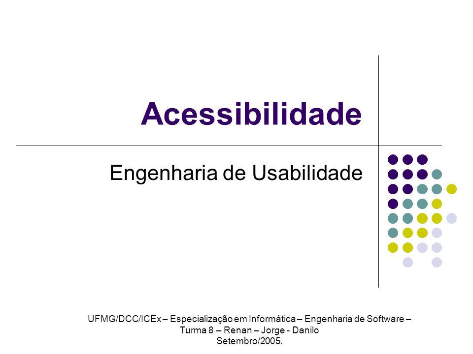 Acessibilidade Engenharia de Usabilidade UFMG/DCC/ICEx – Especialização em Informática – Engenharia de Software – Turma 8 – Renan – Jorge - Danilo Set