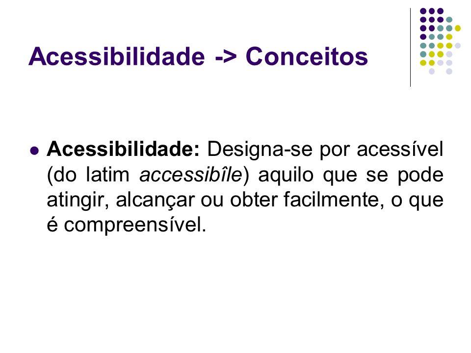 Acessibilidade -> Conceitos Acessibilidade: Designa-se por acessível (do latim accessibîle) aquilo que se pode atingir, alcançar ou obter facilmente,
