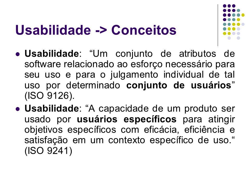 Usabilidade -> Conceitos Usabilidade: Um conjunto de atributos de software relacionado ao esforço necessário para seu uso e para o julgamento individu