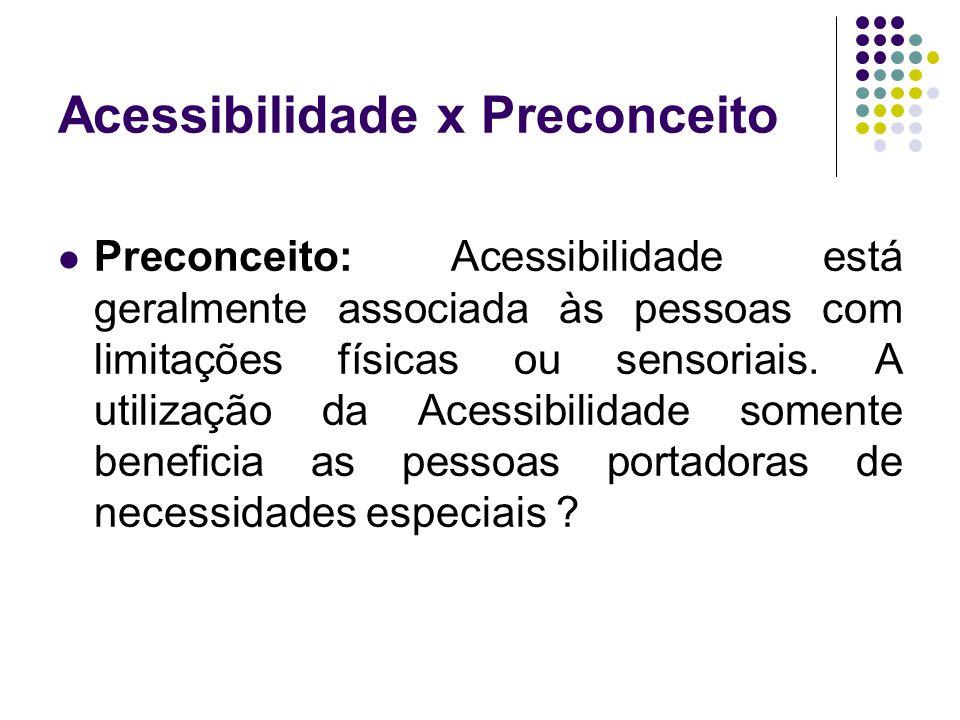 Acessibilidade x Preconceito Preconceito: Acessibilidade está geralmente associada às pessoas com limitações físicas ou sensoriais. A utilização da Ac