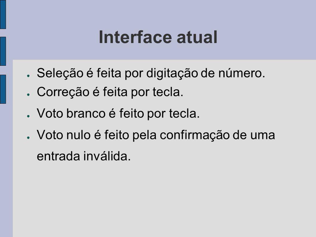 Interface atual Seleção é feita por digitação de número.