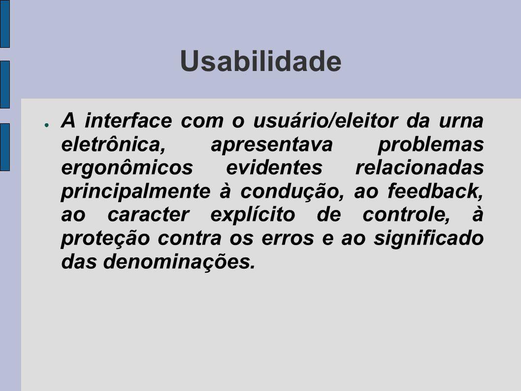 Usabilidade A interface com o usuário/eleitor da urna eletrônica, apresentava problemas ergonômicos evidentes relacionadas principalmente à condução, ao feedback, ao caracter explícito de controle, à proteção contra os erros e ao significado das denominações.