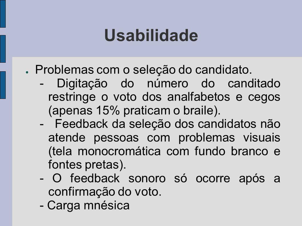 Usabilidade Problemas com o seleção do candidato. - Digitação do número do canditado restringe o voto dos analfabetos e cegos (apenas 15% praticam o b