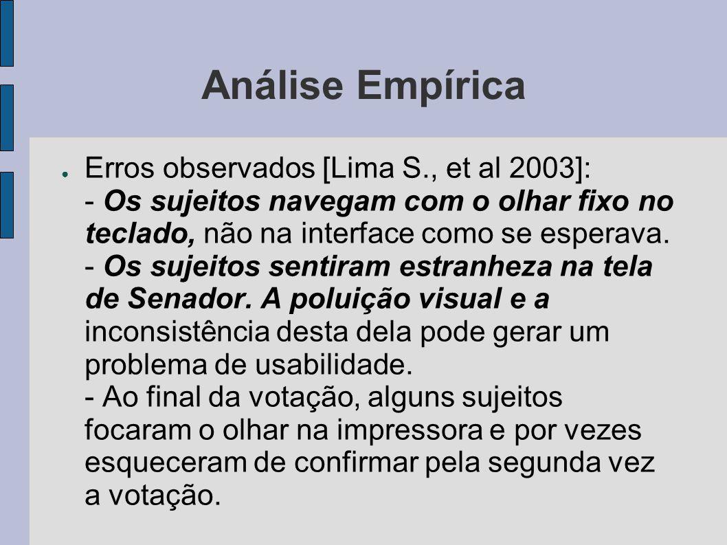 Análise Empírica Erros observados [Lima S., et al 2003]: - Os sujeitos navegam com o olhar fixo no teclado, não na interface como se esperava.