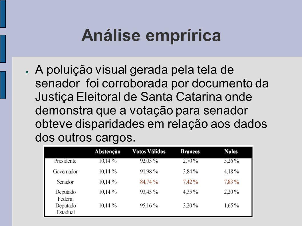 Análise emprírica A poluição visual gerada pela tela de senador foi corroborada por documento da Justiça Eleitoral de Santa Catarina onde demonstra que a votação para senador obteve disparidades em relação aos dados dos outros cargos.