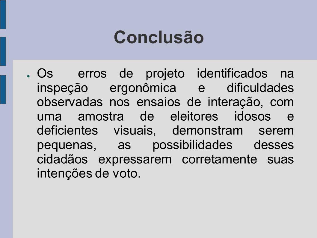 Conclusão Os erros de projeto identificados na inspeção ergonômica e dificuldades observadas nos ensaios de interação, com uma amostra de eleitores id
