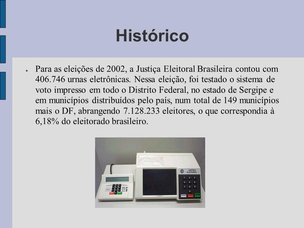 Histórico Para as eleições de 2002, a Justiça Eleitoral Brasileira contou com 406.746 urnas eletrônicas. Nessa eleição, foi testado o sistema de voto