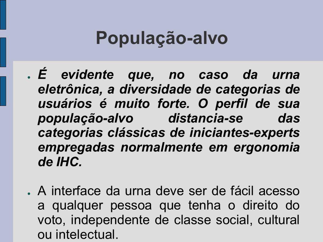 População-alvo É evidente que, no caso da urna eletrônica, a diversidade de categorias de usuários é muito forte.