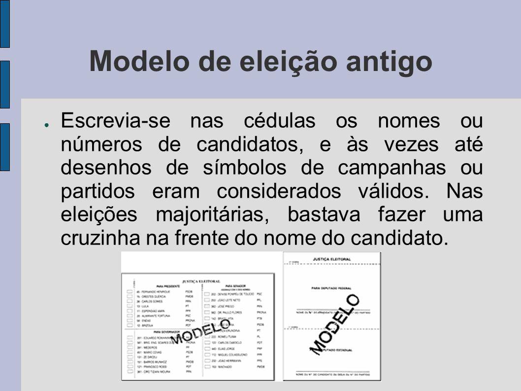 Modelo de eleição antigo Escrevia-se nas cédulas os nomes ou números de candidatos, e às vezes até desenhos de símbolos de campanhas ou partidos eram considerados válidos.