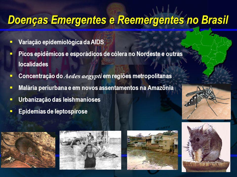 Doenças Emergentes e Reemergentes no Brasil Variação epidemiológica da AIDS Picos epidêmicos e esporádicos de cólera no Nordeste e outras localidades