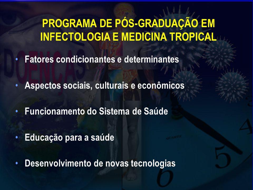 PROGRAMA DE PÓS-GRADUAÇÃO EM INFECTOLOGIA E MEDICINA TROPICAL Fatores condicionantes e determinantes Aspectos sociais, culturais e econômicos Funcionamento do Sistema de Saúde Educação para a saúde Desenvolvimento de novas tecnologias