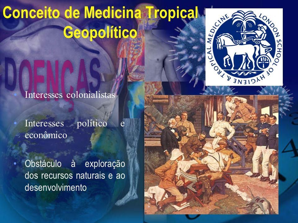 Conceito de Medicina Tropical Geopolítico Interesses colonialistas Interesses político e econômico Obstáculo à exploração dos recursos naturais e ao d