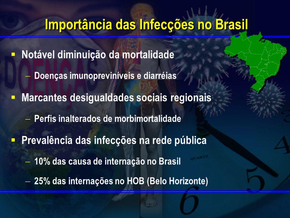 Importância das Infecções no Brasil Notável diminuição da mortalidade Doenças imunopreviníveis e diarréias Marcantes desigualdades sociais regionais Perfis inalterados de morbimortalidade Prevalência das infecções na rede pública 10% das causa de internação no Brasil 25% das internações no HOB (Belo Horizonte)