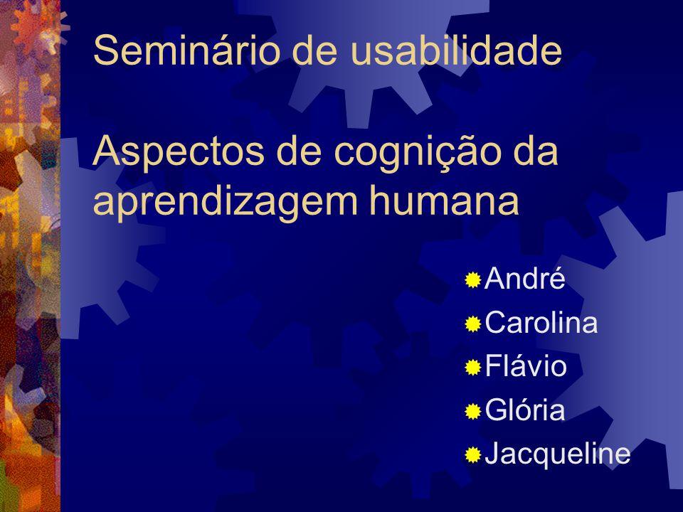Seminário de usabilidade Aspectos de cognição da aprendizagem humana André Carolina Flávio Glória Jacqueline