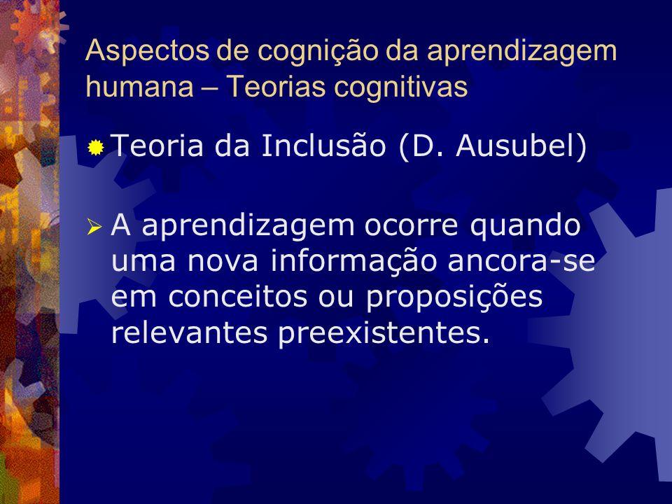 Aspectos de cognição da aprendizagem humana – Teorias cognitivas Teoria da Inclusão (D. Ausubel) A aprendizagem ocorre quando uma nova informação anco