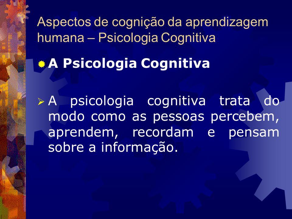 Aspectos de cognição da aprendizagem humana – Psicologia Cognitiva A Psicologia Cognitiva A psicologia cognitiva trata do modo como as pessoas percebe