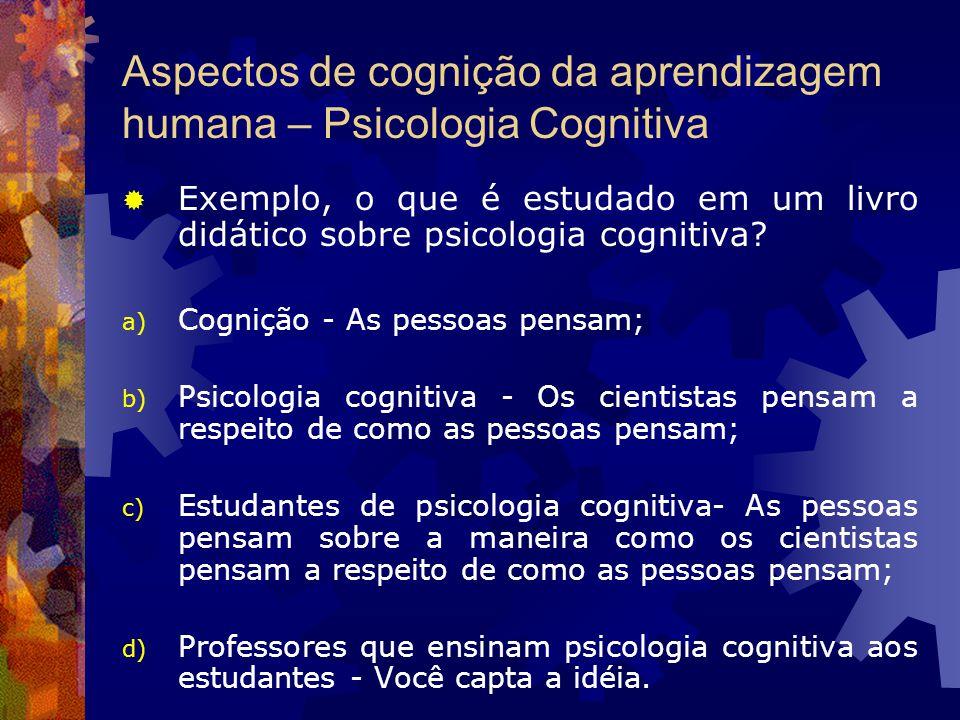 Aspectos de cognição da aprendizagem humana – Psicologia Cognitiva Exemplo, o que é estudado em um livro didático sobre psicologia cognitiva? a) Cogni