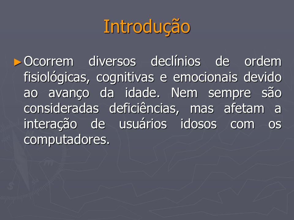Introdução Ocorrem diversos declínios de ordem fisiológicas, cognitivas e emocionais devido ao avanço da idade. Nem sempre são consideradas deficiênci