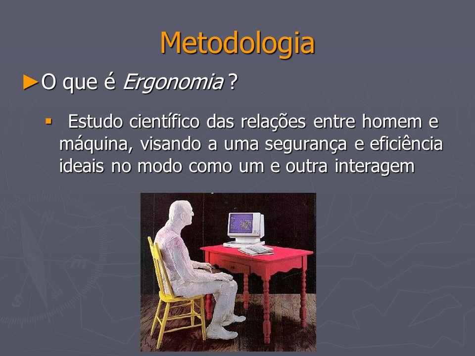 Metodologia O que é Ergonomia ? O que é Ergonomia ? Estudo científico das relações entre homem e máquina, visando a uma segurança e eficiência ideais
