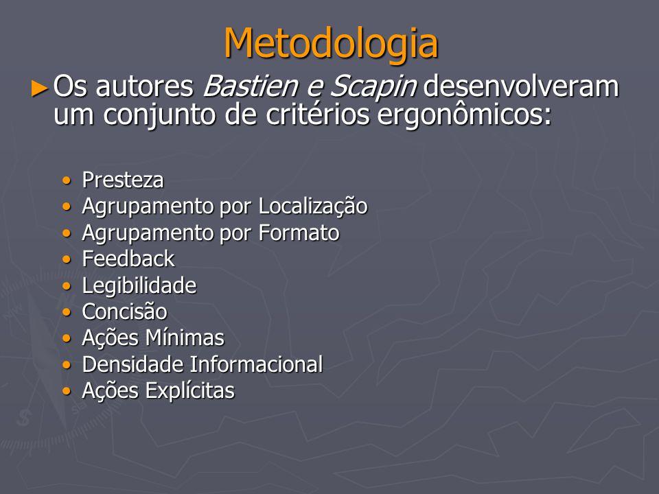 Metodologia Os autores Bastien e Scapin desenvolveram um conjunto de critérios ergonômicos: Os autores Bastien e Scapin desenvolveram um conjunto de c