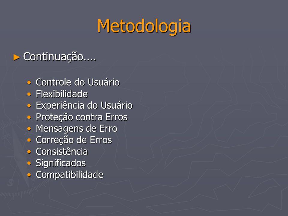 Metodologia Continuação.... Continuação.... Controle do UsuárioControle do Usuário FlexibilidadeFlexibilidade Experiência do UsuárioExperiência do Usu