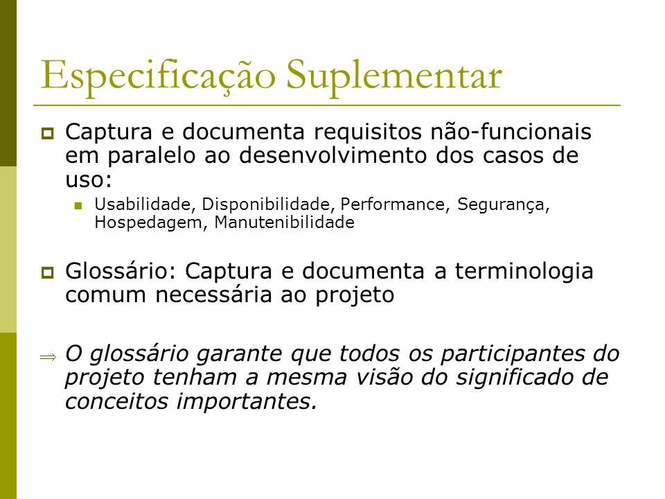 Especificação Suplementar Captura e documenta requisitos não-funcionais em paralelo ao desenvolvimento dos casos de uso: Usabilidade, Disponibilidade,