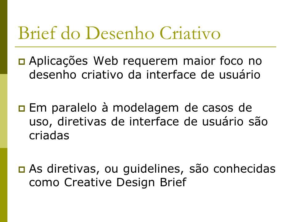 Brief do Desenho Criativo Aplicações Web requerem maior foco no desenho criativo da interface de usuário Em paralelo à modelagem de casos de uso, dire