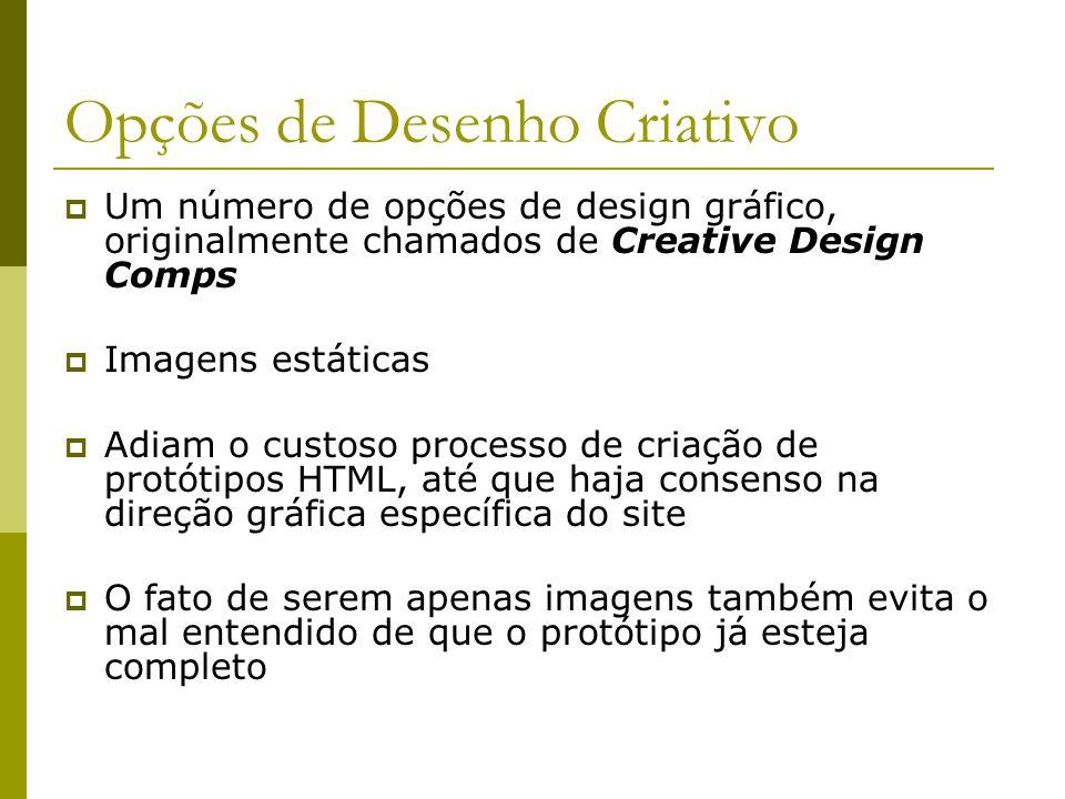 Opções de Desenho Criativo Um número de opções de design gráfico, originalmente chamados de Creative Design Comps Imagens estáticas Adiam o custoso pr