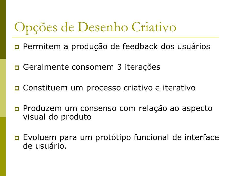 Opções de Desenho Criativo Permitem a produção de feedback dos usuários Geralmente consomem 3 iterações Constituem um processo criativo e iterativo Pr