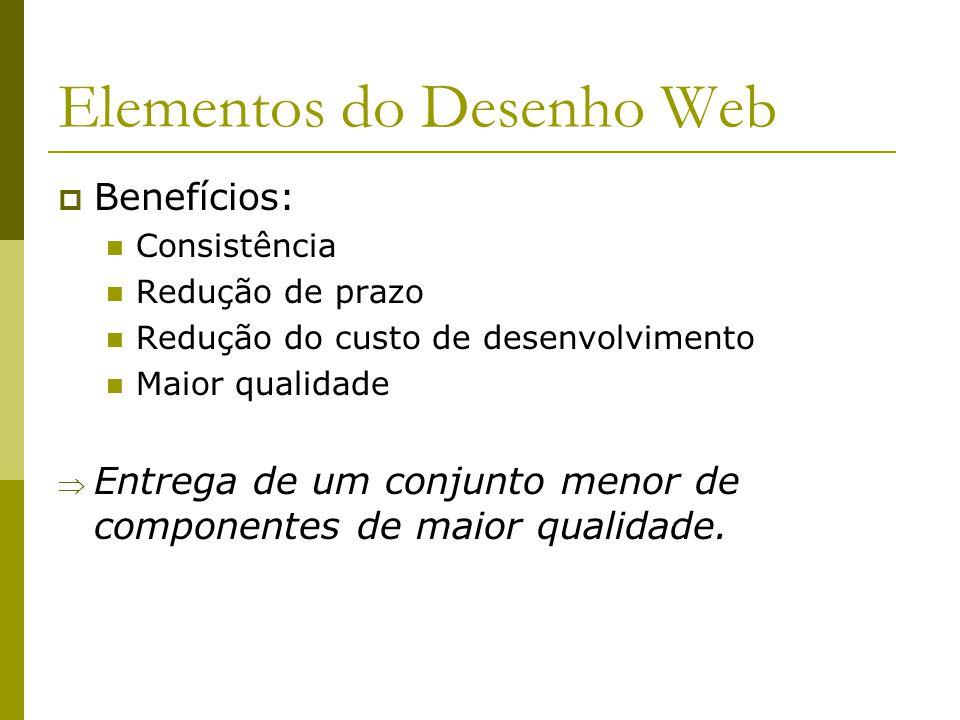 Elementos do Desenho Web Benefícios: Consistência Redução de prazo Redução do custo de desenvolvimento Maior qualidade Entrega de um conjunto menor de