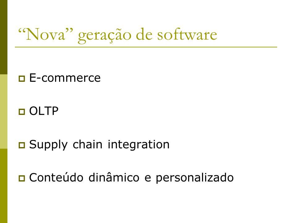 Nova geração de software E-commerce OLTP Supply chain integration Conteúdo dinâmico e personalizado