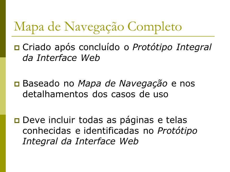 Mapa de Navegação Completo Criado após concluído o Protótipo Integral da Interface Web Baseado no Mapa de Navegação e nos detalhamentos dos casos de u