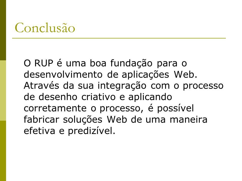 Conclusão O RUP é uma boa fundação para o desenvolvimento de aplicações Web. Através da sua integração com o processo de desenho criativo e aplicando