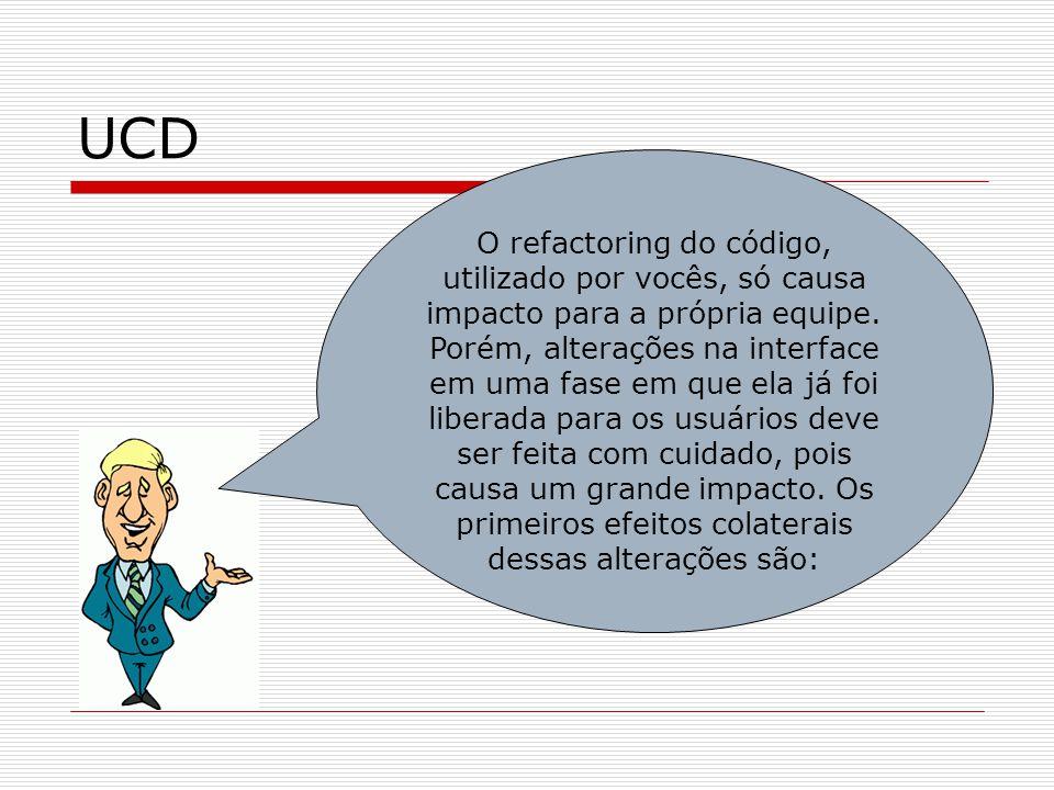 UCD O refactoring do código, utilizado por vocês, só causa impacto para a própria equipe. Porém, alterações na interface em uma fase em que ela já foi