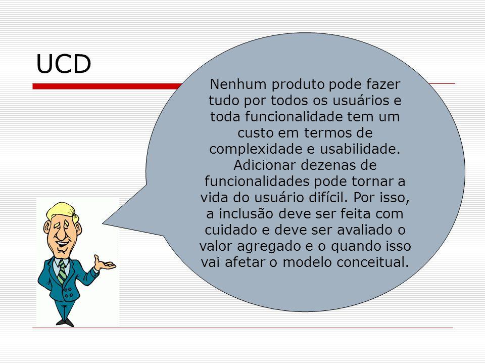 UCD Nenhum produto pode fazer tudo por todos os usuários e toda funcionalidade tem um custo em termos de complexidade e usabilidade. Adicionar dezenas