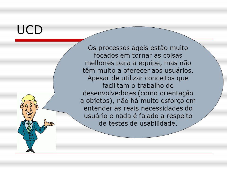 UCD Os processos ágeis estão muito focados em tornar as coisas melhores para a equipe, mas não têm muito a oferecer aos usuários. Apesar de utilizar c