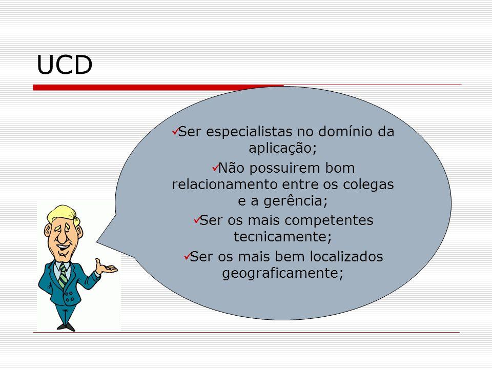 UCD Ser especialistas no domínio da aplicação; Não possuirem bom relacionamento entre os colegas e a gerência; Ser os mais competentes tecnicamente; S