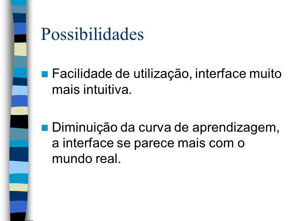 Possibilidades Facilidade de utilização, interface muito mais intuitiva.