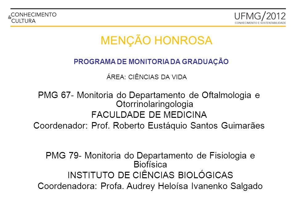 MENÇÃO HONROSA PROGRAMA DE MONITORIA DA GRADUAÇÃO PMG 21- Monitoria do Centro de Cálculo Eletrônico ESCOLA DE ENGENHARIA Coordenador: Prof.