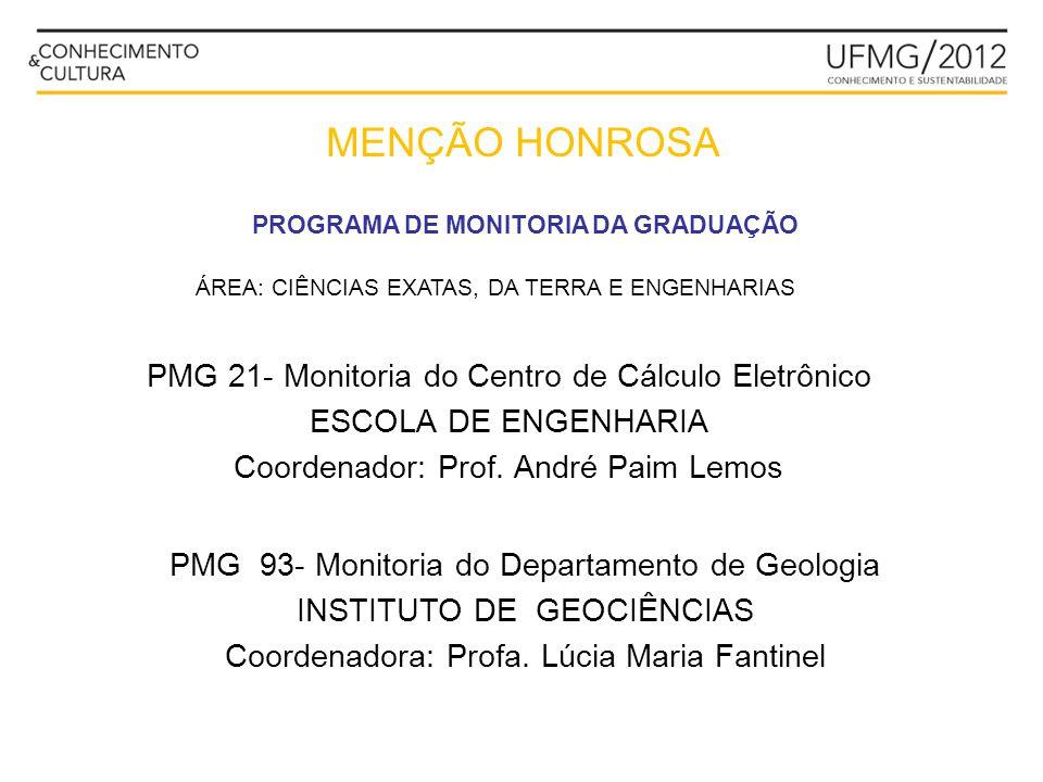 MENÇÃO HONROSA PROGRAMA DE MONITORIA DA GRADUAÇÃO PMG 21- Monitoria do Centro de Cálculo Eletrônico ESCOLA DE ENGENHARIA Coordenador: Prof. André Paim