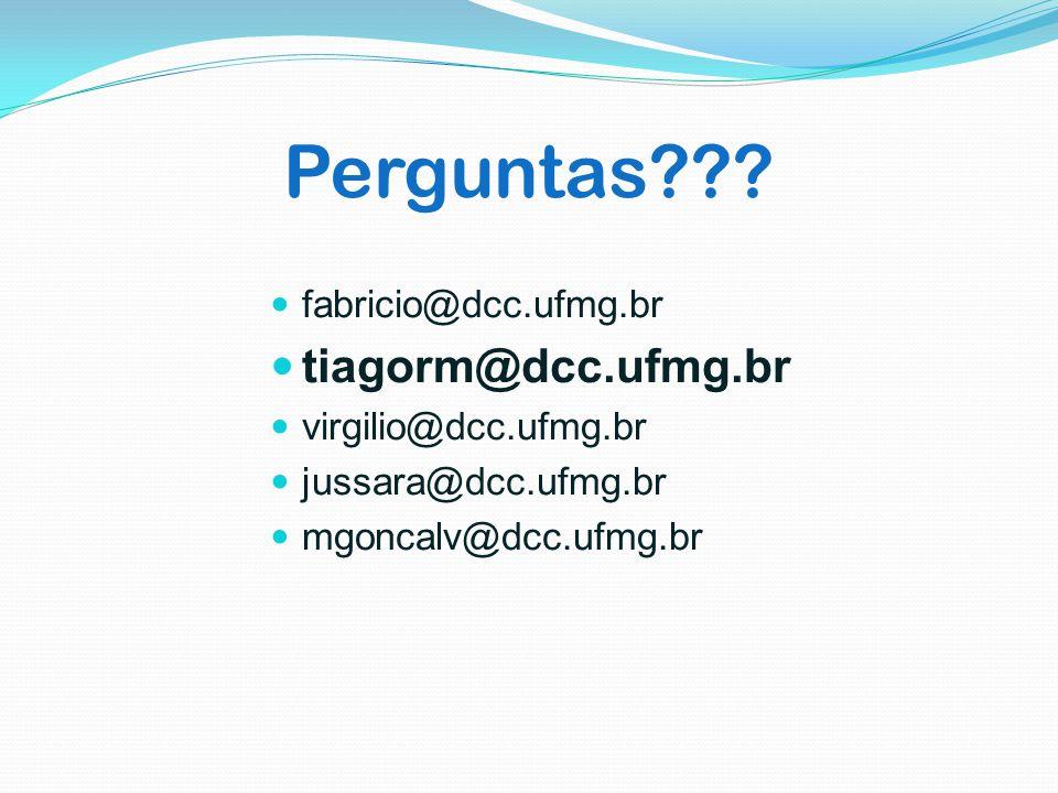 Perguntas??? fabricio@dcc.ufmg.br tiagorm@dcc.ufmg.br virgilio@dcc.ufmg.br jussara@dcc.ufmg.br mgoncalv@dcc.ufmg.br